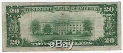 1929 T1 20 $ Première Banque Nationale Troy Ohio Billet De Banque Nationale Choix De Devise Vf