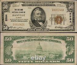 1929 Ty 1 50 $ Monnaie Nationale 2e Banque Nationale De Danville, Ill. F- 1803