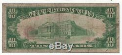 1929 Type 1 $ 10 First National Bank Note Devise Odebolt Iowa Circulated Fin