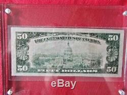 1929 U. S. National Bank Of Houston Texas Monnaie Note 50 $ Dollar / Affichage Cas