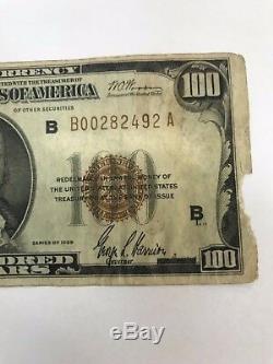 1929 Us $ 100 De La Banque De Réserve Fédérale De New York