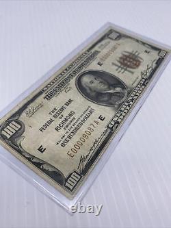 1929 Us $100 Monnaie Nationale Note. Banque De Réserve Fédérale Richmond Ultra Low S/n