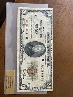 1929 Vingt Dollar $ 20 Monnaie Nationale Bank Note New York New York, Brown Seal