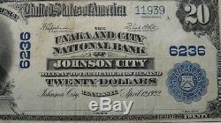 20 $ 1902 Billet De Banque En Monnaie Nationale De Johnson City Dans Le Tn, Tn Facture # 6236 Vf +