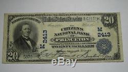 20 $ 1902 Billet De Banque En Monnaie Nationale Princeton Illinois IL IL Bill Ch. # 2413 Vf