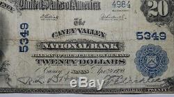 20 $ 1902 Caney Valley Kansas Ks Banque Nationale Monnaie Note Bill! Ch. # 5349 Fin