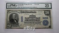 20 $ 1902 Emporium Pennsylvanie Pa Banque Nationale Monnaie Note Bill # 3255 Vf Pmg