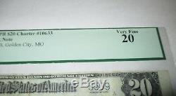 20 $ 1902 Golden City Missouri Mo Banque Nationale Monnaie Note Bill Ch # 10633 Pcgs
