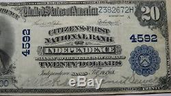 20 $ 1902 Independence Kansas Ks Banque Nationale Monnaie Remarque Bill Ch # 4592 Vf ++