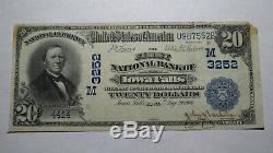 20 $ 1902 Iowa Falls Iowa Ia Banque Nationale Monnaie Note Bill Ch. # 3253 Rare