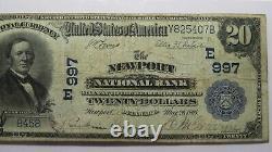 $20 1902 Newport Delaware De National Currency Bank Note Bill Ch. #997 Pcgs F15