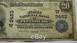 20 $ 1902 Pittsburg Kansas Ks Banque Nationale Monnaie Note Bill Ch. # 3463 Fin