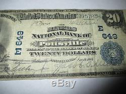 20 $ 1902 Pottsville Pennsylvanie Pa Note De La Banque Nationale De Billets Bill N ° 649 Fine