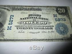 $ 20 1902 Toledo Illinois IL Billets De Billets De Banque Nationale Bill! Ch # 5273 Fine