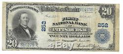20 $. 1918 Pittsburgh Penn Banque Nationale Monnaie Note Bill Ch. # 252 Grand Format