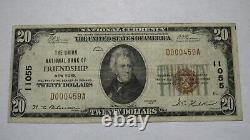 20 1929 Amitié New York Ny Monnaie Nationale Banque Note Bill Ch. #11055 Vf
