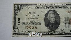 20 $ 1929 Anthony Kansas Ks Banque Nationale Monnaie Note Bill Charte # 3385 Vf