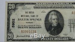 20 $ 1929 Billet De Banque Du Ks Du Kansas Au Kansas, Kansas