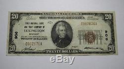 20 $ 1929 Billet De Banque En Monnaie Nationale De Lexington Kentucky Ky Bill Ch. # 906 Xf +