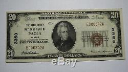 20 $ 1929 Billet De Banque En Monnaie Nationale Du Ks Paola Kansas Ks Bill Ch. # 3584 Vf! Rare