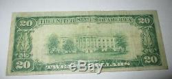 20 $ 1929 Billet De Banque En Monnaie Nationale Du Somerville New Jersey Nj! # 4942 Fin