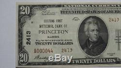 20 $ 1929 Billet De Banque En Monnaie Nationale Princeton Illinois IL IL Bill Ch. # 2413 Xf ++