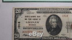 20 $ 1929 Billet De Banque National En Devise Nationale Saginaw Michigan MI Billet N ° 1918 Vf Pcgs