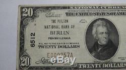 20 $ 1929 Billet De Billet De Banque De La Devise Nationale De Berlin Pennsylvanie Pa! Ch. # 6512 Vf +