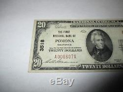 20 $ 1929 Billet De Billets De Banque En Monnaie Nationale Pomona Californie Ca! Ch. # 3518 Vf