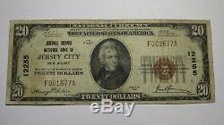 20 $ 1929 Billet De La Monnaie Nationale Du Jersey Du Nj À Jersey City Billet N ° 12255 Journal Square