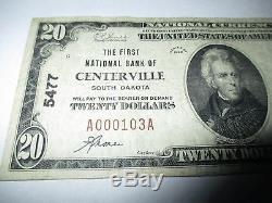 20 $ 1929 Centerville South Dakota Sd National Currency Note De La Note Bill # 5477 Vf