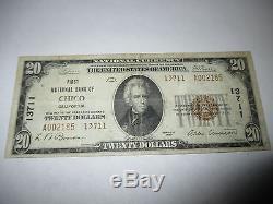 20 $ 1929 Chico California Ca Note De La Banque Nationale De Billets Bill! Ch. # 13711 Vf