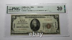 20 1929 Chillicothe Ohio Oh National Monnaie Banque Note Bill Ch. #5634 Vf30 Pmg