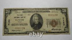 $20 1929 Claude Texas Tx National Currency Bank Note Bill! Ch. #7123 Fine Rare