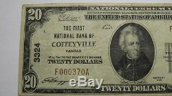 20 $ 1929 Coffeyville Kansas Ks Banque Nationale Monnaie Note Bill Ch. # 3324 Vf