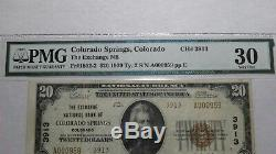 20 $ 1929 Colorado Colorado Springs Co Banque Nationale Monnaie Remarque Le Projet De Loi 3913 Vf30