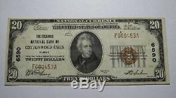 20 $ 1929 Cottonwood Falls Kansas Ks Billet De Banque! # 6590 Vf +