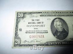20 $ 1929 Davenport Iowa Ia Note De La Banque Monétaire Nationale Bill! Ch # 15 Fine