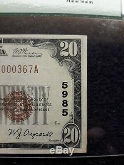 20 $ 1929 El Reno Oklahoma Ok Billet De Banque En Monnaie Nationale Bill Ch. # 5985