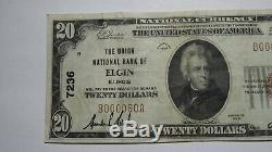 20 $ 1929 Elgin Illinois IL Banque Nationale Monnaie Note Bill! Ch. # 7236 Vf ++