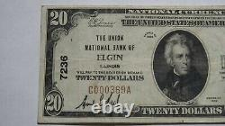 $20 1929 Elgin Illinois IL National Currency Bank Note Bill! Ch. #7236 Vf