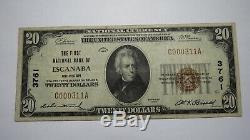 20 $ 1929 Escanaba Michigan MI Banque Nationale Monnaie Note Bill! Ch. # 3761 Vf