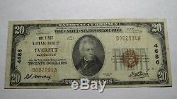 20 $ 1929 Everett Washington Wa Banque Nationale Monnaie Note Bill Ch. # 4686 Fin