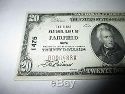 20 $ 1929 Fairfield Iowa Ia Billets De Billets De Banque Nationale Bill! Ch. # 1475 Vf +