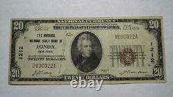$20 1929 Fonda New York Ny National Currency Bank Note Bill Charter #1212 Vf+