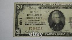 $20 1929 Forest City Pennsylvania Pa National Currency Bank Note Bill #5518 Vf