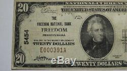 20 $ 1929 Freedom Pennsylvania Pa Banque Nationale Monnaie Note Bill Ch. # 5454 Vf