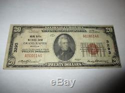 $ 20 1929 Grand Rapids Michigan MI Projet De Loi Sur Les Billets De Banque Nationaux! Ch. # 3293