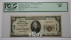 20 $ 1929 Hammond Indiana In Billet De Banque National En Billets De Banque Bill Ch. # 8199 Pcgs Vf20