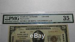 20 $ 1929 Hanford Californie Ca Banque Nationale Monnaie Note Bill Ch. # 5863 Vf35